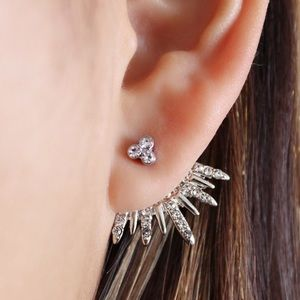 Silver CZ Studs w/Matching Jacket Earrings